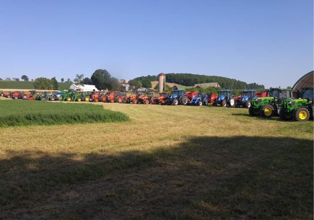 Equipment in a field at the Ontario Forage Council's Forage Expo event